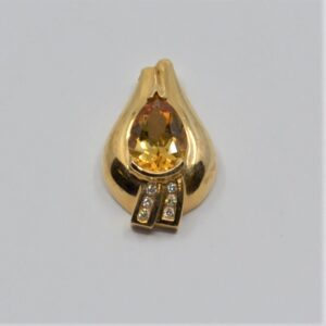 14k citrine diamond pendant