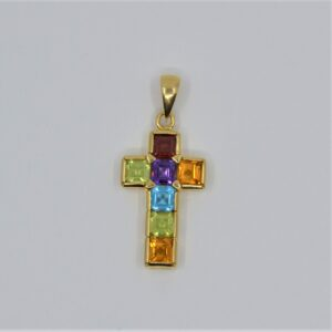 18k gold gemstone cross