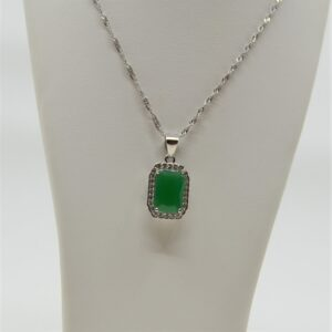 sterling silver green and white cubic zirconia necklace