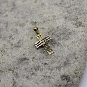 10k two tone gold cross